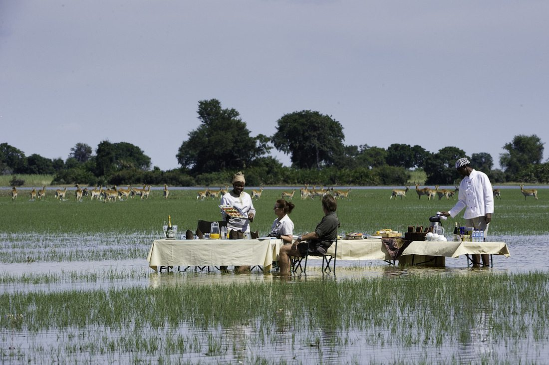 Joa Camp - water dining in the Okavango Delta Botswana - Tailor-Made Safaris at their best!