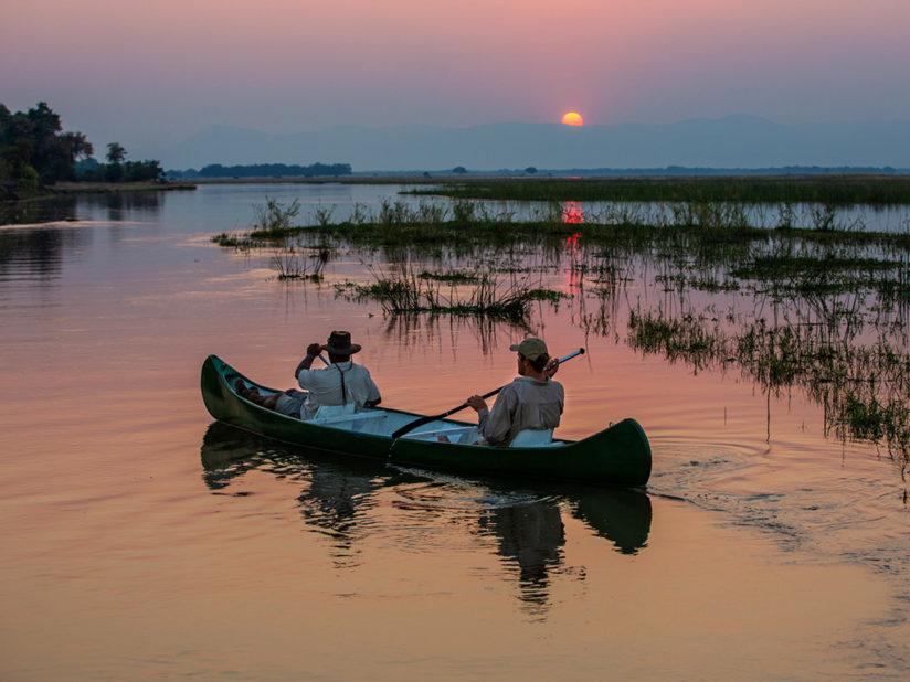 Canoeing the peaceful Zambezi on sunset - Mana Pools National Park
