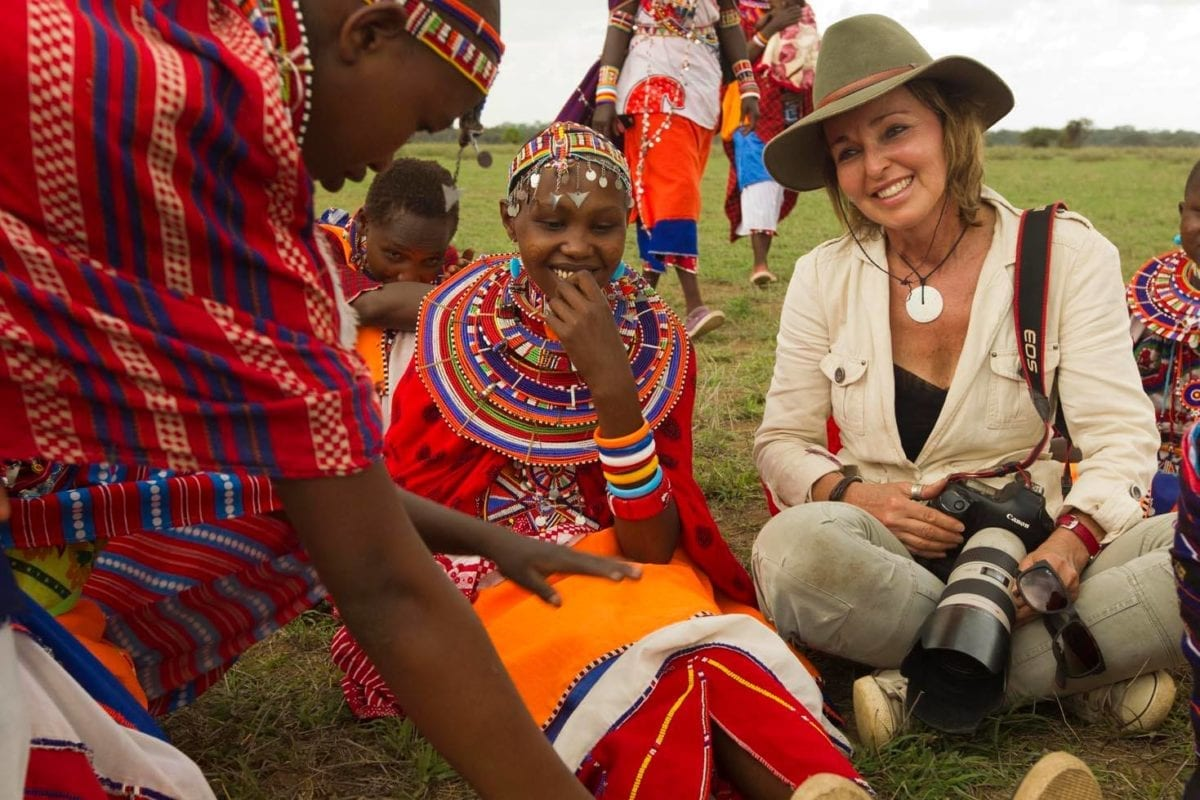 Beverly Joubert with Maasi Tribe