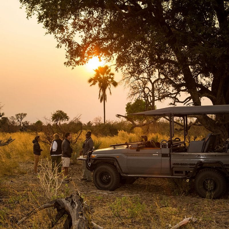 Enjoying a sundowner in the Okavango Delta - Botswana